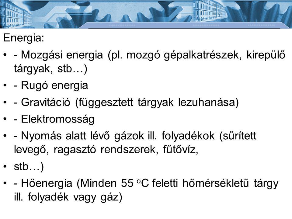 Energia: - Mozgási energia (pl. mozgó gépalkatrészek, kirepülő tárgyak, stb…) - Rugó energia - Gravitáció (függesztett tárgyak lezuhanása) - Elektromo