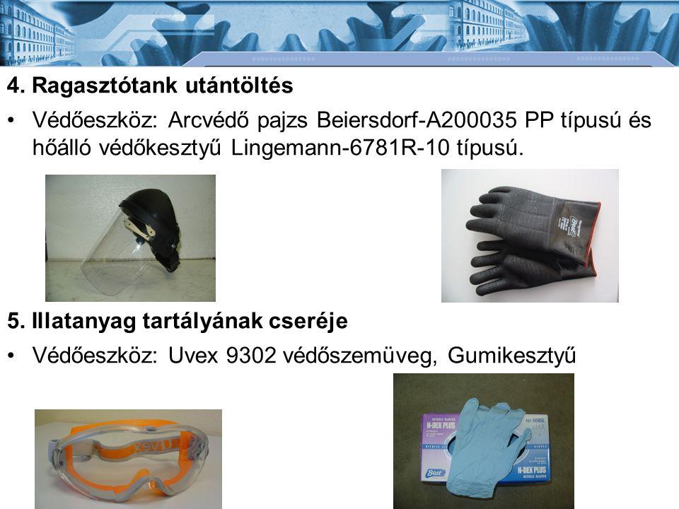 4. Ragasztótank utántöltés Védőeszköz: Arcvédő pajzs Beiersdorf-A200035 PP típusú és hőálló védőkesztyű Lingemann-6781R-10 típusú. 5. Illatanyag tartá