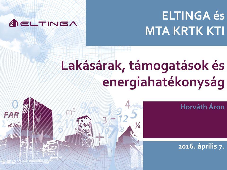 ELTINGA és MTA KRTK KTI Horváth Áron 2016. április 7. Lakásárak, támogatások és energiahatékonyság