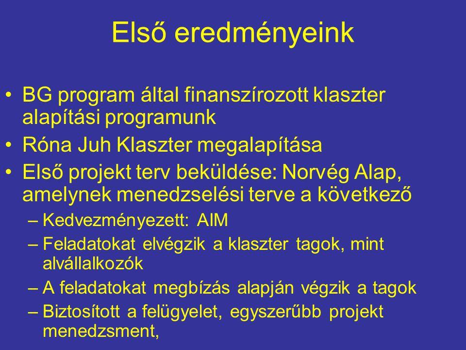 Első eredményeink BG program által finanszírozott klaszter alapítási programunk Róna Juh Klaszter megalapítása Első projekt terv beküldése: Norvég Alap, amelynek menedzselési terve a következő –Kedvezményezett: AIM –Feladatokat elvégzik a klaszter tagok, mint alvállalkozók –A feladatokat megbízás alapján végzik a tagok –Biztosított a felügyelet, egyszerűbb projekt menedzsment,