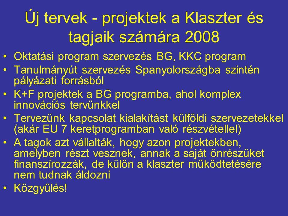 Új tervek - projektek a Klaszter és tagjaik számára 2008 Oktatási program szervezés BG, KKC program Tanulmányút szervezés Spanyolországba szintén pályázati forrásból K+F projektek a BG programba, ahol komplex innovációs tervünkkel Tervezünk kapcsolat kialakítást külföldi szervezetekkel (akár EU 7 keretprogramban való részvétellel) A tagok azt vállalták, hogy azon projektekben, amelyben részt vesznek, annak a saját önrészüket finanszírozzák, de külön a klaszter működtetésére nem tudnak áldozni Közgyűlés!