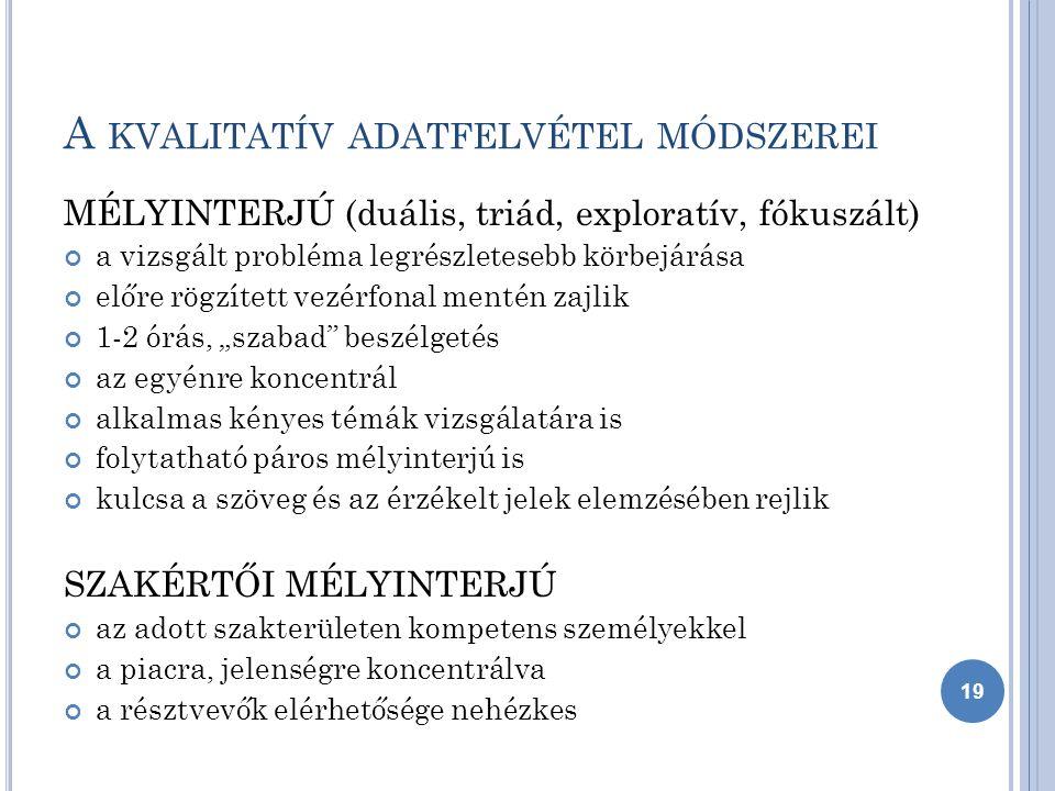 A KVALITATÍV ADATFELVÉTEL MÓDSZEREI DELPHI MEGKÉRDEZÉS előre definiált probléma SZAKÉRTŐKKEL történő általában ismételt vizsgálata mini – Delphi Delphi-konferencia online megkérdezés TARTALOMELEMZÉS értékek, szimbólumok, összefüggések, tipizálás, átfogó elemzés fontos szimbólumok, hívószavak és szövegkörnyezetük elemzése ESETTANULMÁNY egy kiválasztott példaértékű cég, márka, termékfogyasztás, trendsetter esetének körbejárása 20