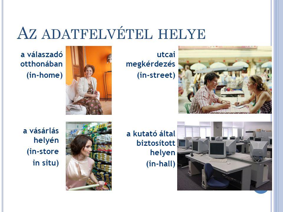 A Z ADATFELVÉTEL HELYE utcai megkérdezés (in-street) a válaszadó otthonában (in-home) a kutató által biztosított helyen (in-hall) a vásárlás helyén (in-store in situ) 26