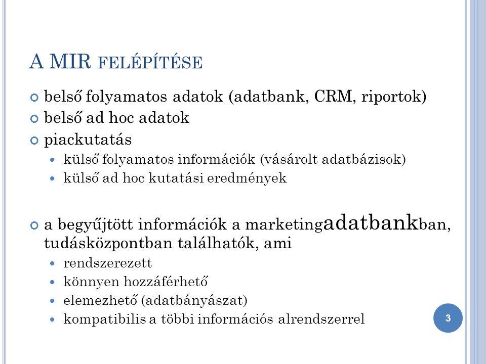 A MIR FELÉPÍTÉSE belső folyamatos adatok (adatbank, CRM, riportok) belső ad hoc adatok piackutatás külső folyamatos információk (vásárolt adatbázisok) külső ad hoc kutatási eredmények a begyűjtött információk a marketing adatbank ban, tudásközpontban találhatók, ami rendszerezett könnyen hozzáférhető elemezhető (adatbányászat) kompatibilis a többi információs alrendszerrel 3