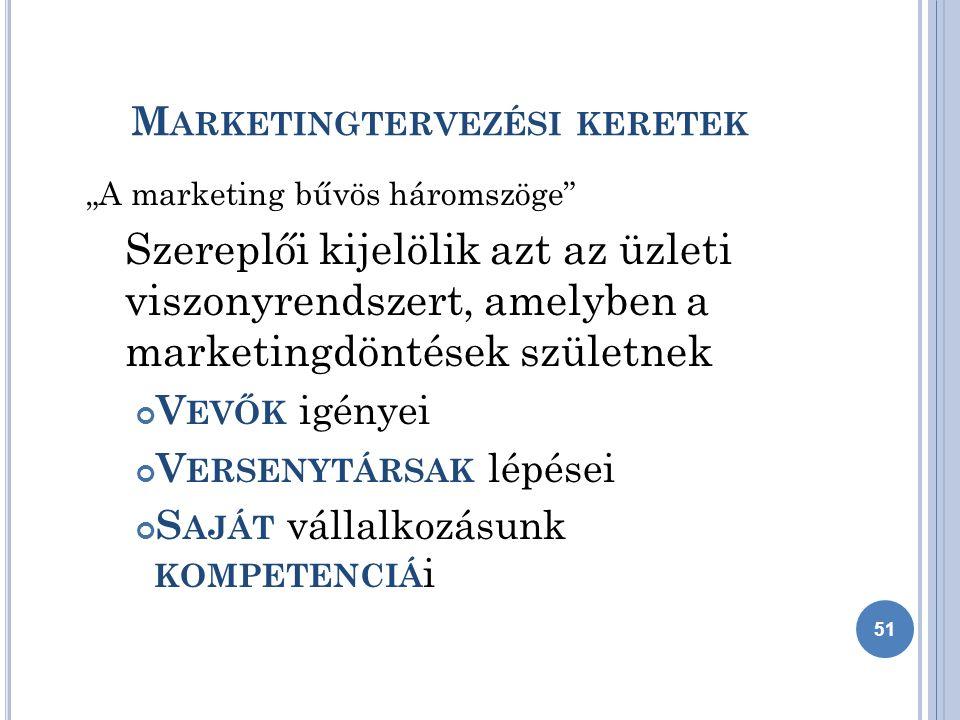 """M ARKETINGTERVEZÉSI KERETEK """"A marketing bűvös háromszöge Szereplői kijelölik azt az üzleti viszonyrendszert, amelyben a marketingdöntések születnek V EVŐK igényei V ERSENYTÁRSAK lépései S AJÁT vállalkozásunk KOMPETENCIÁ i 51"""