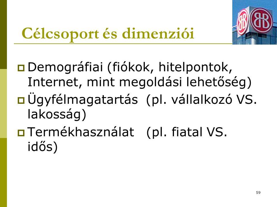 Célcsoport és dimenziói  Demográfiai (fiókok, hitelpontok, Internet, mint megoldási lehetőség)  Ügyfélmagatartás (pl.
