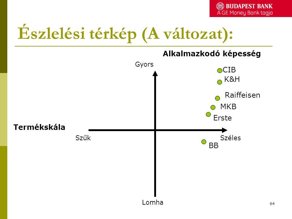 Észlelési térkép (A változat): Szűk Alkalmazkodó képesség Gyors Lomha Széles Termékskála BB MKB CIB K&H Erste Raiffeisen 64