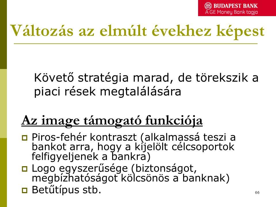 Változás az elmúlt évekhez képest  Piros-fehér kontraszt (alkalmassá teszi a bankot arra, hogy a kijelölt célcsoportok felfigyeljenek a bankra)  Logo egyszerűsége (biztonságot, megbízhatóságot kölcsönös a banknak)  Betűtípus stb.