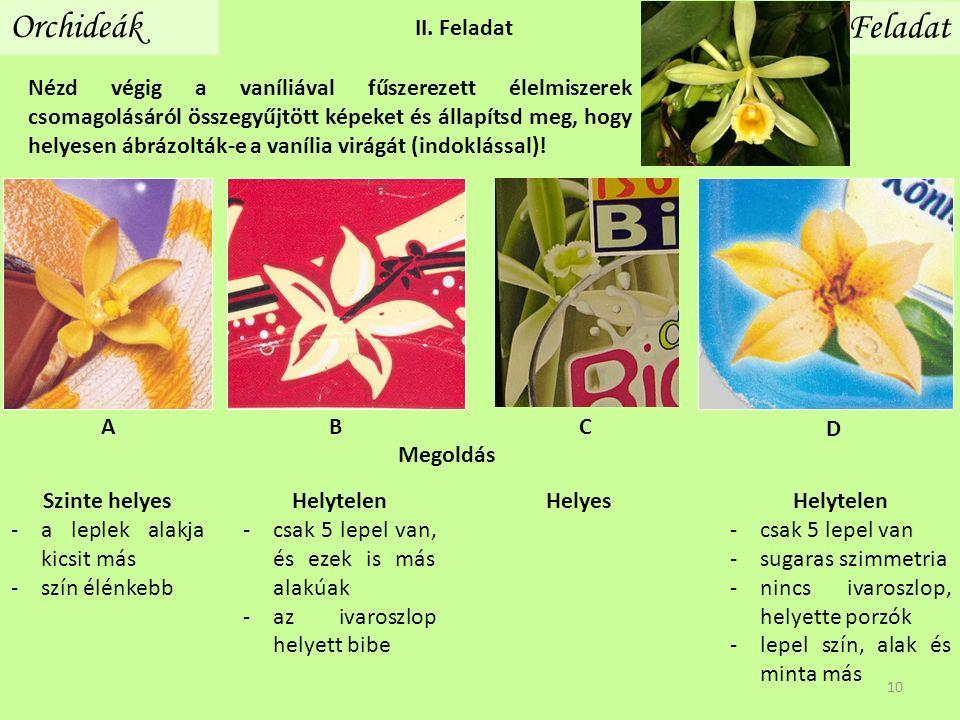 II. Feladat Orchideák Feladat Nézd végig a vaníliával fűszerezett élelmiszerek csomagolásáról összegyűjtött képeket és állapítsd meg, hogy helyesen áb