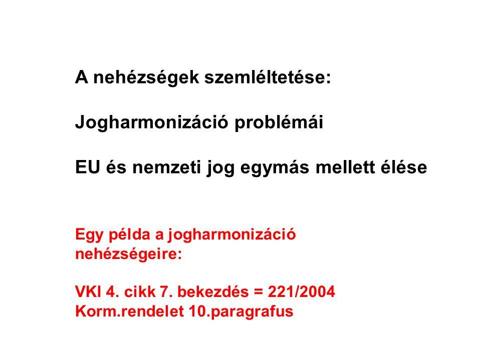 A nehézségek szemléltetése: Jogharmonizáció problémái EU és nemzeti jog egymás mellett élése Egy példa a jogharmonizáció nehézségeire: VKI 4. cikk 7.
