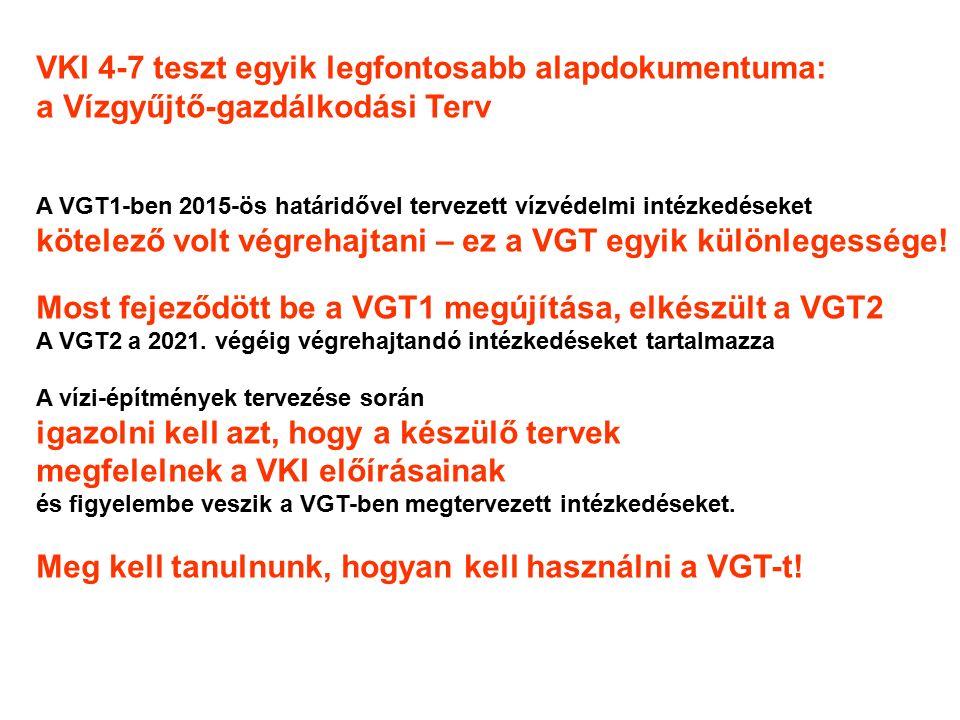 VKI 4-7 teszt egyik legfontosabb alapdokumentuma: a Vízgyűjtő-gazdálkodási Terv A VGT1-ben 2015-ös határidővel tervezett vízvédelmi intézkedéseket kötelező volt végrehajtani – ez a VGT egyik különlegessége.