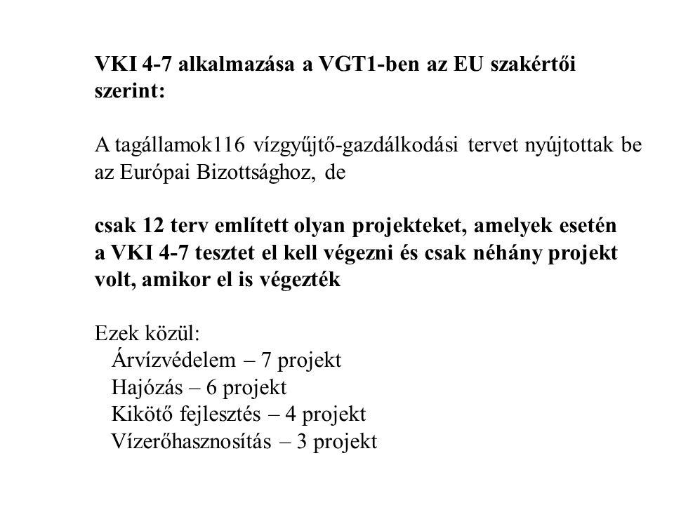 VKI 4-7 alkalmazása a VGT1-ben az EU szakértői szerint: A tagállamok116 vízgyűjtő-gazdálkodási tervet nyújtottak be az Európai Bizottsághoz, de csak 12 terv említett olyan projekteket, amelyek esetén a VKI 4-7 tesztet el kell végezni és csak néhány projekt volt, amikor el is végezték Ezek közül: Árvízvédelem – 7 projekt Hajózás – 6 projekt Kikötő fejlesztés – 4 projekt Vízerőhasznosítás – 3 projekt