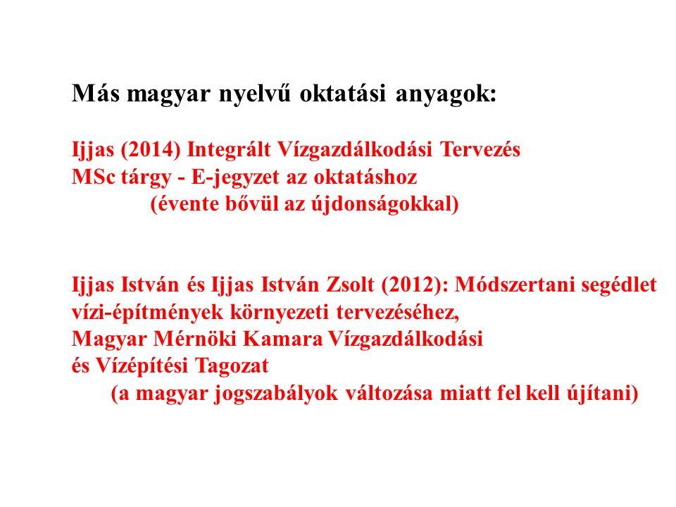 Más magyar nyelvű oktatási anyagok: Ijjas (2014) Integrált Vízgazdálkodási Tervezés MSc tárgy - E-jegyzet az oktatáshoz (évente bővül az újdonságokkal