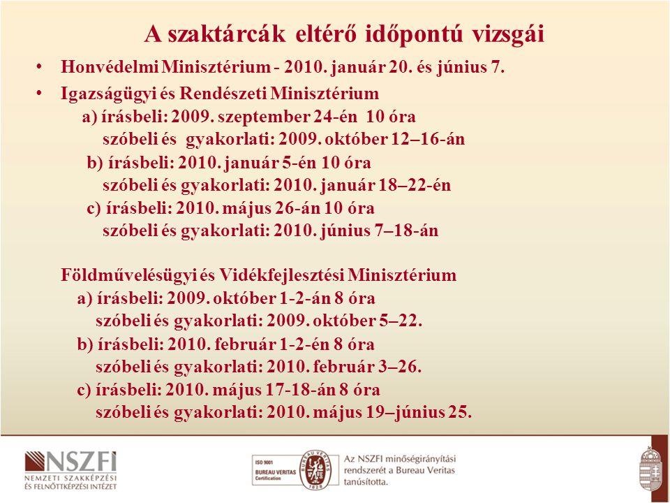 A szaktárcák eltérő időpontú vizsgái Honvédelmi Minisztérium - 2010.