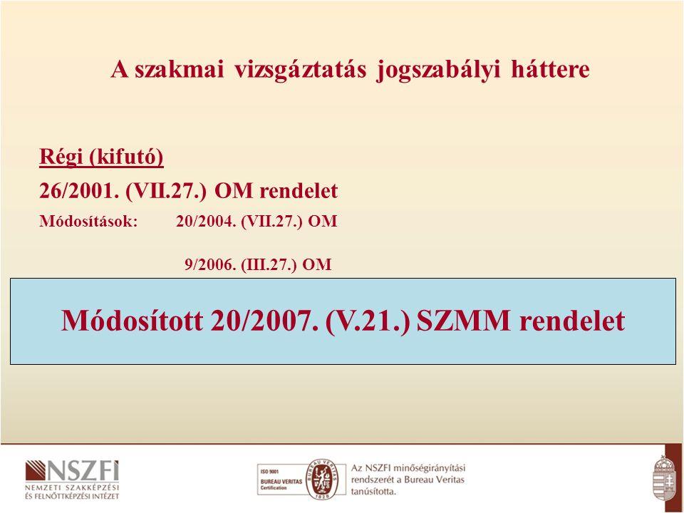 A szakmai vizsgáztatás jogszabályi háttere Régi (kifutó) 26/2001.