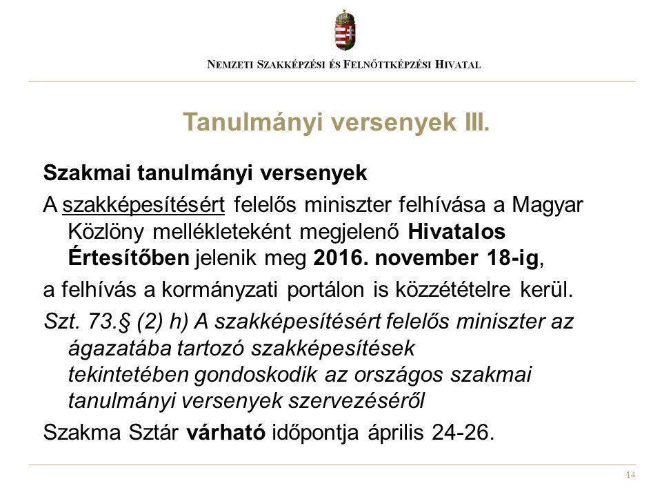 14 Szakmai tanulmányi versenyek A szakképesítésért felelős miniszter felhívása a Magyar Közlöny mellékleteként megjelenő Hivatalos Értesítőben jelenik