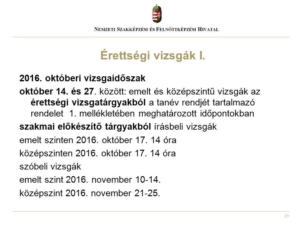 15 2016. októberi vizsgaidőszak október 14. és 27. között: emelt és középszintű vizsgák az érettségi vizsgatárgyakból a tanév rendjét tartalmazó rende