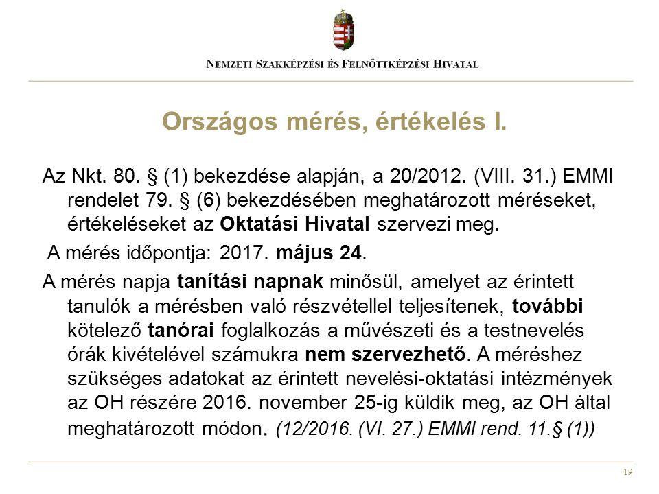 19 Az Nkt. 80. § (1) bekezdése alapján, a 20/2012. (VIII. 31.) EMMI rendelet 79. § (6) bekezdésében meghatározott méréseket, értékeléseket az Oktatási