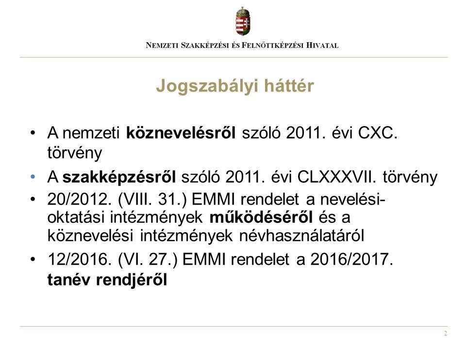 2 A nemzeti köznevelésről szóló 2011. évi CXC. törvény A szakképzésről szóló 2011. évi CLXXXVII. törvény 20/2012. (VIII. 31.) EMMI rendelet a nevelési