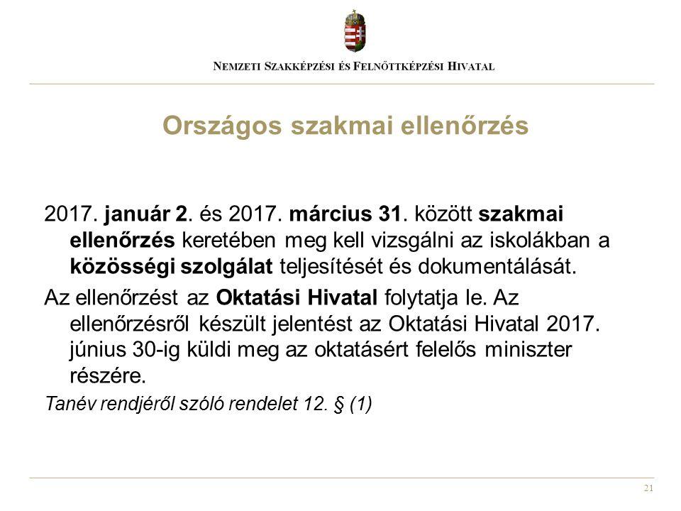 21 2017. január 2. és 2017. március 31. között szakmai ellenőrzés keretében meg kell vizsgálni az iskolákban a közösségi szolgálat teljesítését és dok