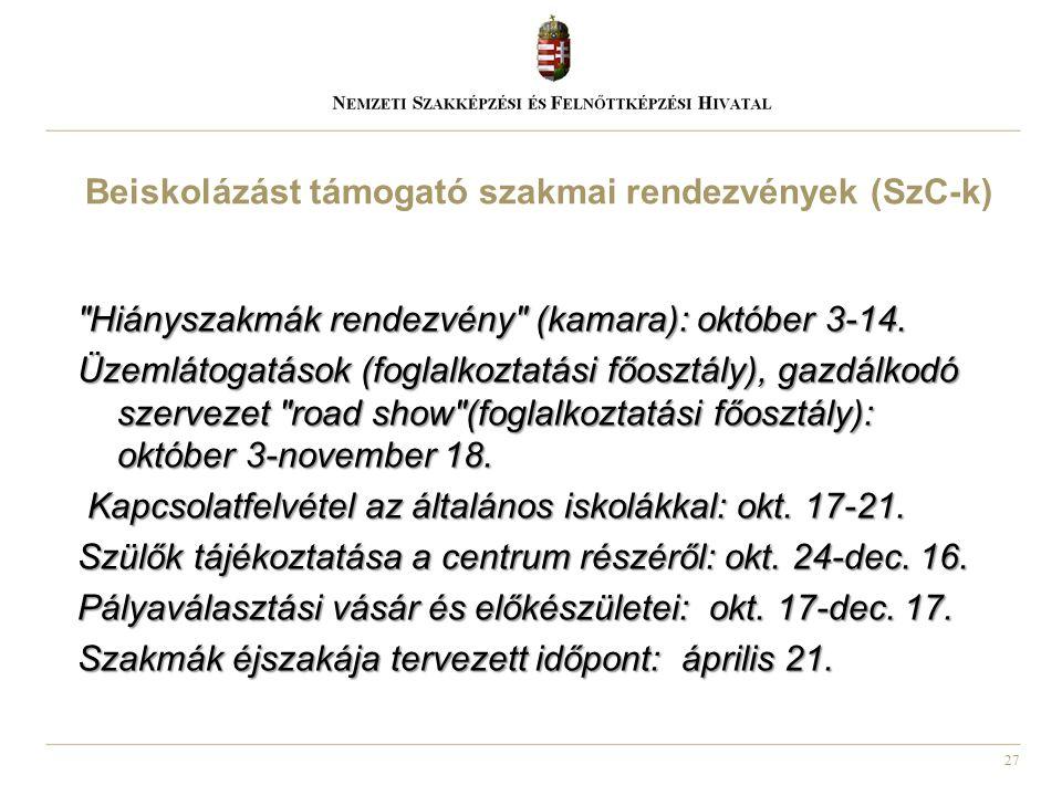27 Hiányszakmák rendezvény (kamara): október 3-14.
