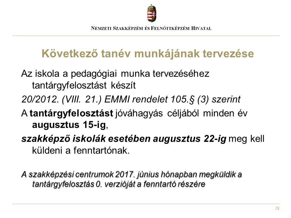 28 Az iskola a pedagógiai munka tervezéséhez tantárgyfelosztást készít 20/2012. (VIII. 21.) EMMI rendelet 105.§ (3) szerint A tantárgyfelosztást jóváh