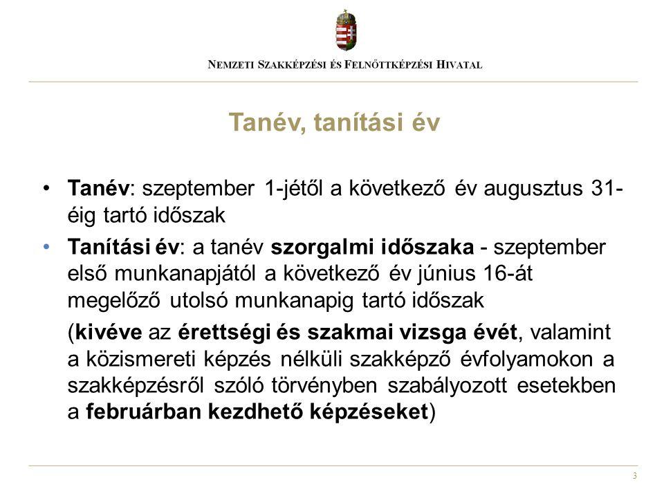 3 Tanév: szeptember 1-jétől a következő év augusztus 31- éig tartó időszak Tanítási év: a tanév szorgalmi időszaka - szeptember első munkanapjától a k