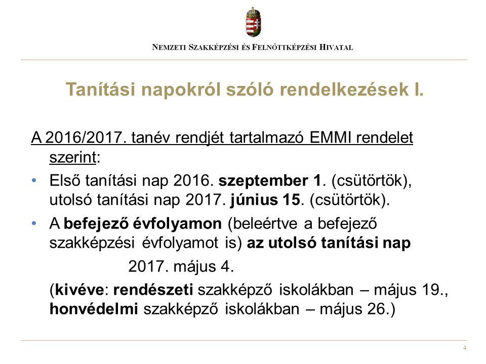4 A 2016/2017. tanév rendjét tartalmazó EMMI rendelet szerint: Első tanítási nap 2016. szeptember 1. (csütörtök), utolsó tanítási nap 2017. június 15.
