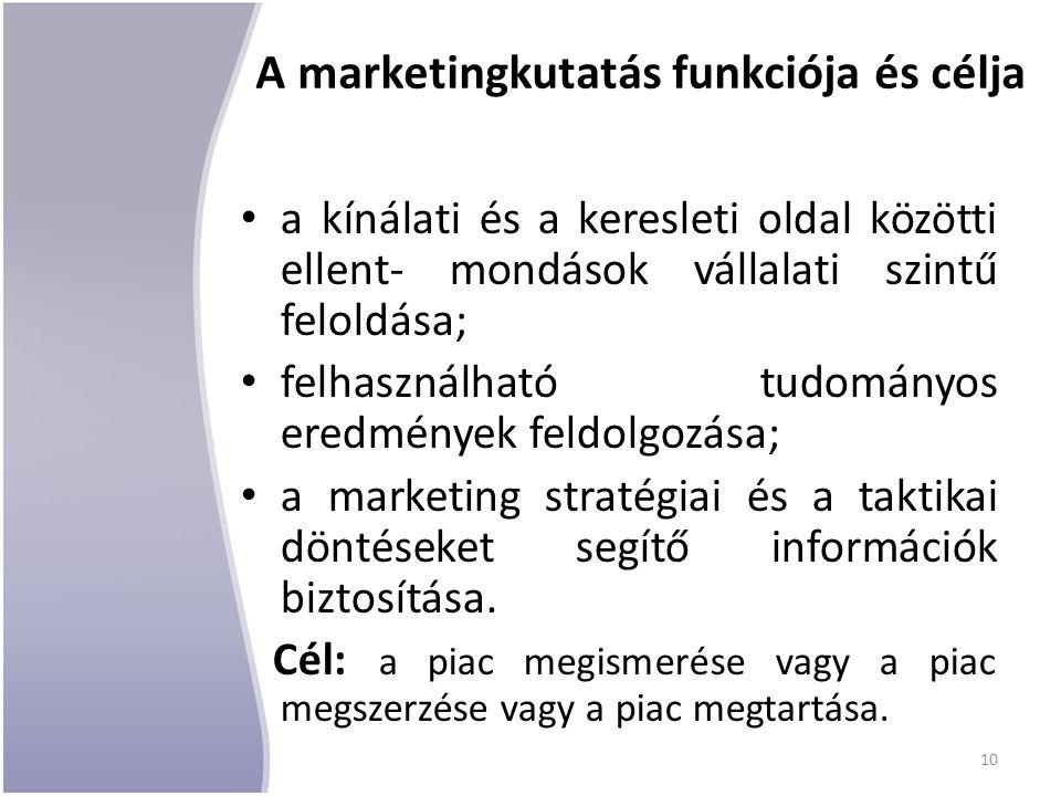 A marketingkutatás funkciója és célja a kínálati és a keresleti oldal közötti ellent- mondások vállalati szintű feloldása; felhasználható tudományos e