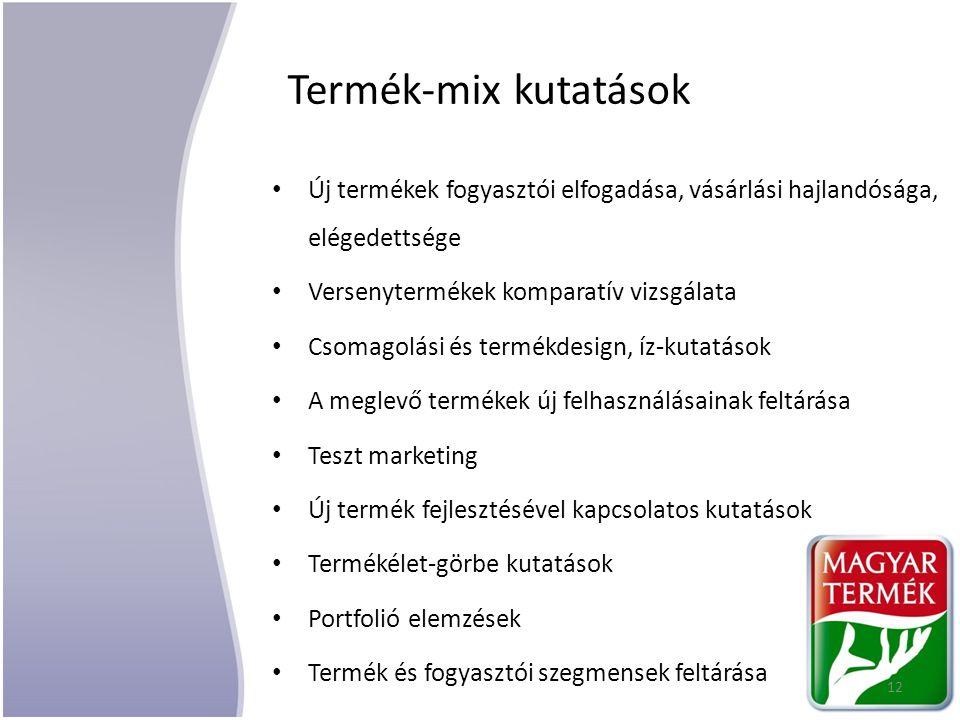 Termék-mix kutatások Új termékek fogyasztói elfogadása, vásárlási hajlandósága, elégedettsége Versenytermékek komparatív vizsgálata Csomagolási és ter