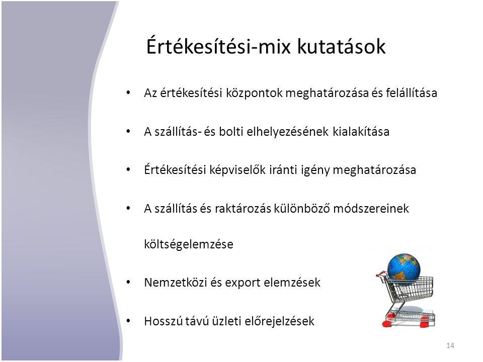Értékesítési-mix kutatások Az értékesítési központok meghatározása és felállítása A szállítás- és bolti elhelyezésének kialakítása Értékesítési képviselők iránti igény meghatározása A szállítás és raktározás különböző módszereinek költségelemzése Nemzetközi és export elemzések Hosszú távú üzleti előrejelzések 14