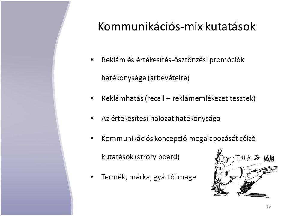 Kommunikációs-mix kutatások Reklám és értékesítés-ösztönzési promóciók hatékonysága (árbevételre) Reklámhatás (recall – reklámemlékezet tesztek) Az ér