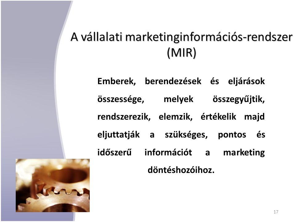 A vállalati marketinginformációs-rendszer (MIR) Emberek, berendezések és eljárások összessége, melyek összegyűjtik, rendszerezik, elemzik, értékelik majd eljuttatják a szükséges, pontos és időszerű információt a marketing döntéshozóihoz.
