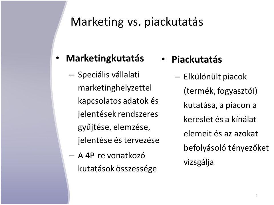 Marketing vs. piackutatás Marketingkutatás – Speciális vállalati marketinghelyzettel kapcsolatos adatok és jelentések rendszeres gyűjtése, elemzése, j
