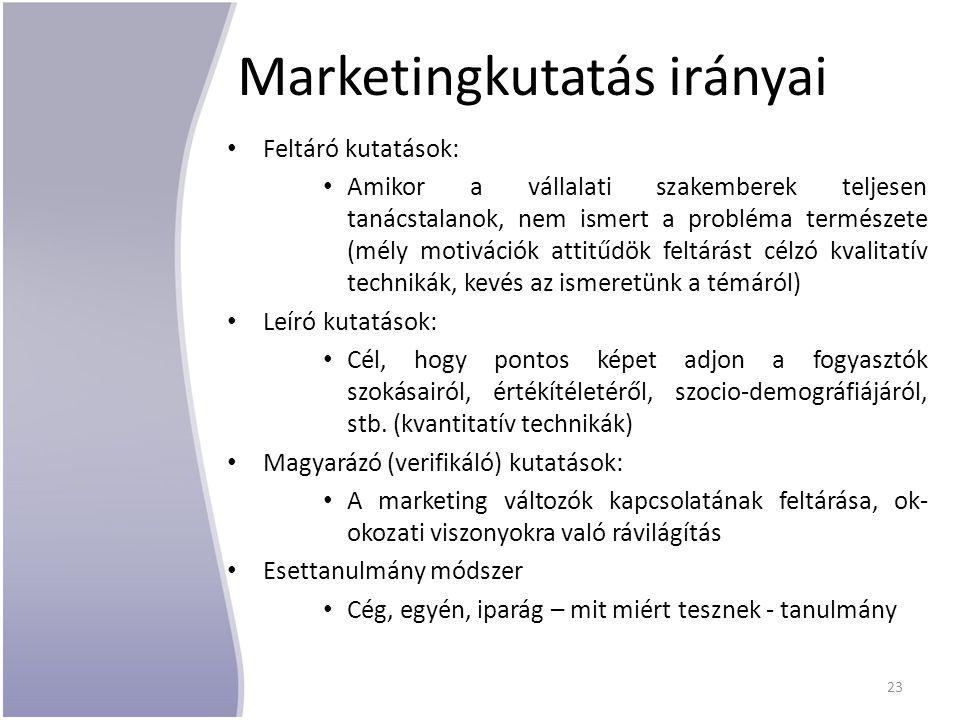 Marketingkutatás irányai Feltáró kutatások: Amikor a vállalati szakemberek teljesen tanácstalanok, nem ismert a probléma természete (mély motivációk attitűdök feltárást célzó kvalitatív technikák, kevés az ismeretünk a témáról) Leíró kutatások: Cél, hogy pontos képet adjon a fogyasztók szokásairól, értékítéletéről, szocio-demográfiájáról, stb.
