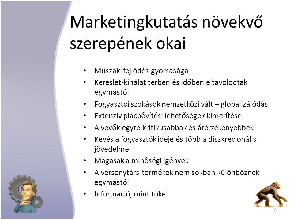 Marketingkutatás növekvő szerepének okai Műszaki fejlődés gyorsasága Kereslet-kínálat térben és időben eltávolodtak egymástól Fogyasztói szokások nemzetközi vált – globalizálódás Extenzív piacbővítési lehetőségek kimerítése A vevők egyre kritikusabbak és árérzékenyebbek Kevés a fogyasztók ideje és több a diszkrecionális jövedelme Magasak a minőségi igények A versenytárs-termékek nem sokban különböznek egymástól Információ, mint tőke 4