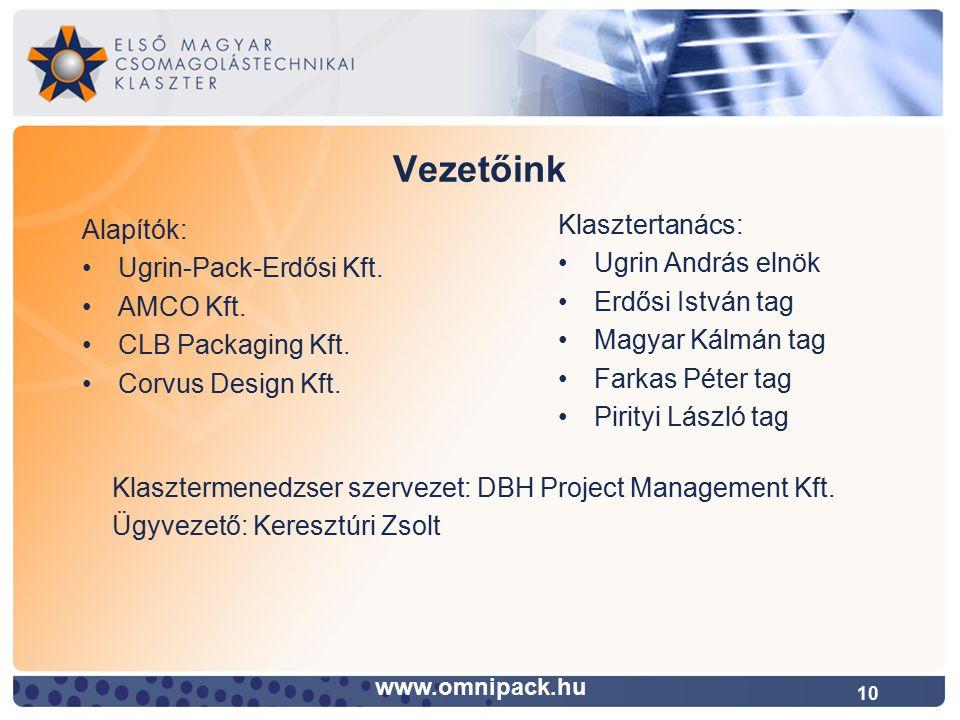 10 Vezetőink www.omnipack.hu Alapítók: Ugrin-Pack-Erdősi Kft.
