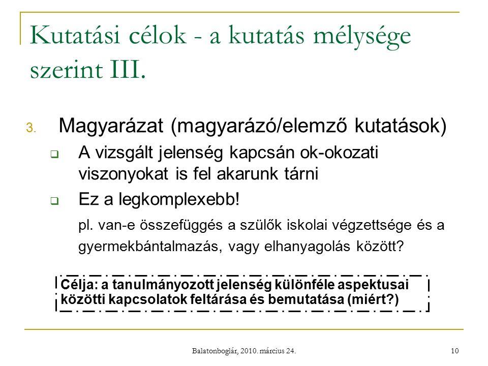 Balatonboglár, 2010. március 24. 10 Kutatási célok - a kutatás mélysége szerint III.