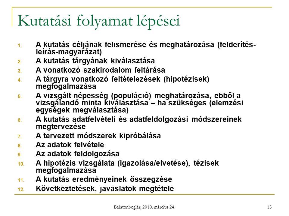 Balatonboglár, 2010. március 24. 13 Kutatási folyamat lépései 1.