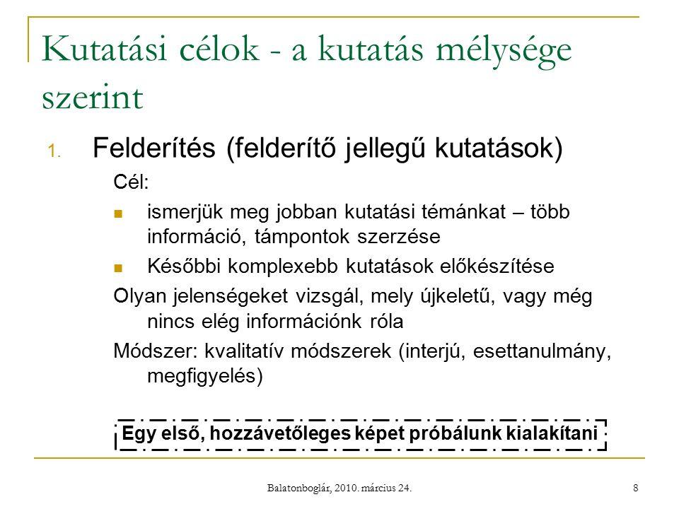 Balatonboglár, 2010. március 24. 8 Kutatási célok - a kutatás mélysége szerint 1.