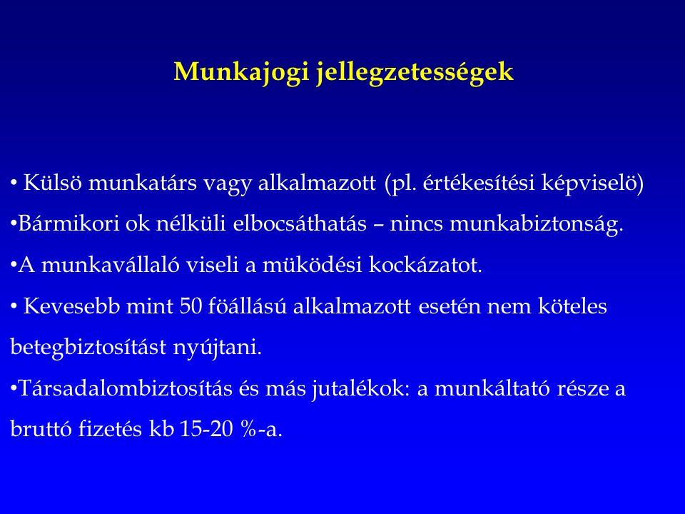 Munkajogi jellegzetességek Külsö munkatárs vagy alkalmazott (pl.