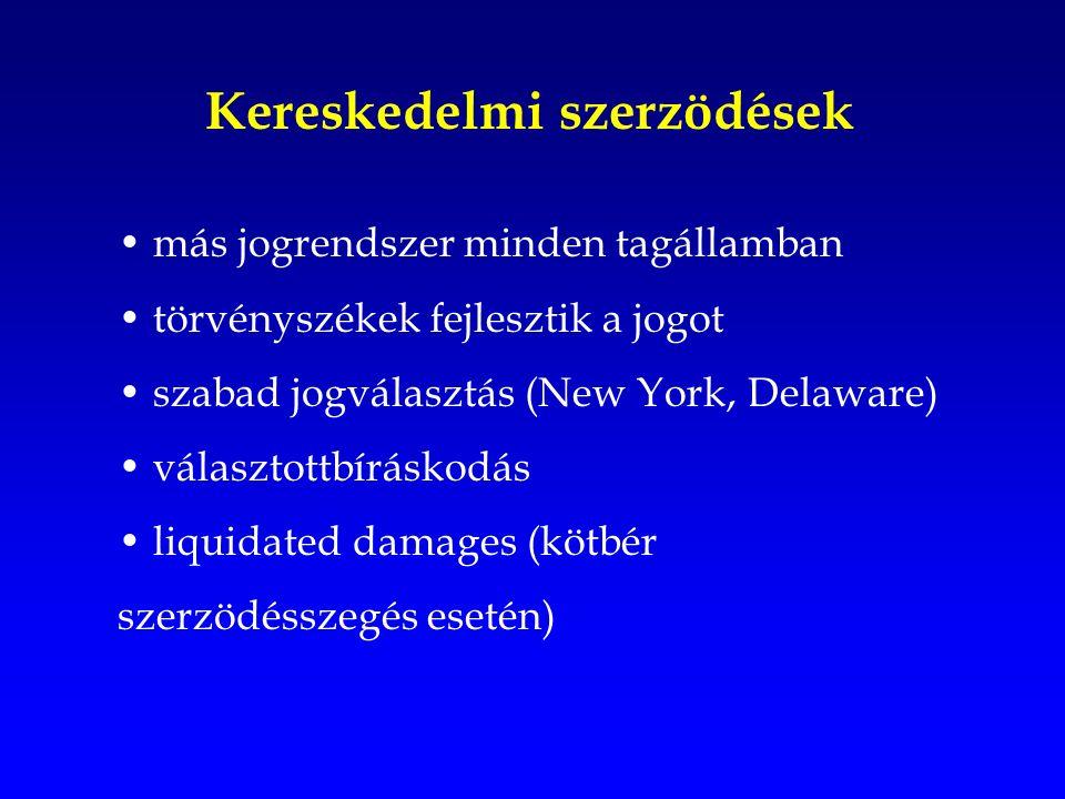 Kereskedelmi szerzödések más jogrendszer minden tagállamban törvényszékek fejlesztik a jogot szabad jogválasztás (New York, Delaware) választottbíráskodás liquidated damages (kötbér szerzödésszegés esetén)