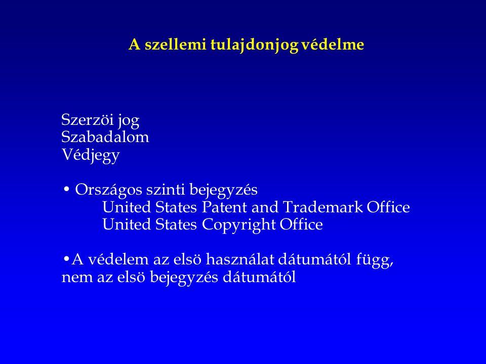 A szellemi tulajdonjog védelme Szerzöi jog Szabadalom Védjegy Országos szinti bejegyzés United States Patent and Trademark Office United States Copyright Office A védelem az elsö használat dátumától függ, nem az elsö bejegyzés dátumától