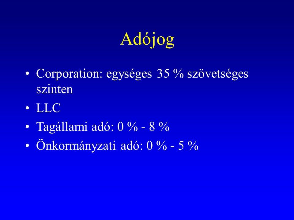 Adójog Corporation: egységes 35 % szövetséges szinten LLC Tagállami adó: 0 % - 8 % Önkormányzati adó: 0 % - 5 %