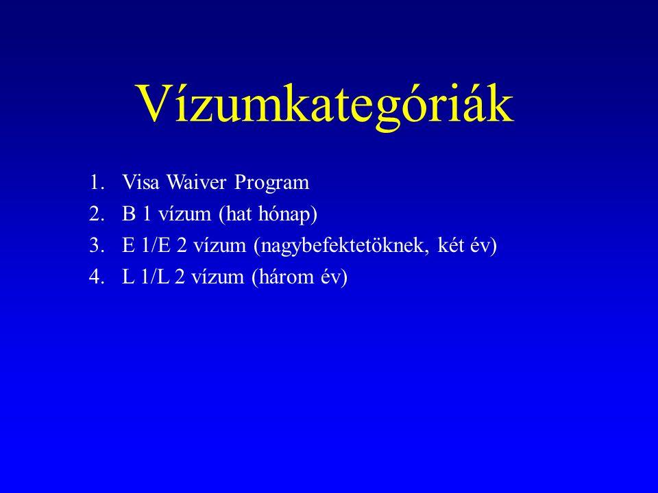 Vízumkategóriák 1.Visa Waiver Program 2.B 1 vízum (hat hónap) 3.E 1/E 2 vízum (nagybefektetöknek, két év) 4.L 1/L 2 vízum (három év)