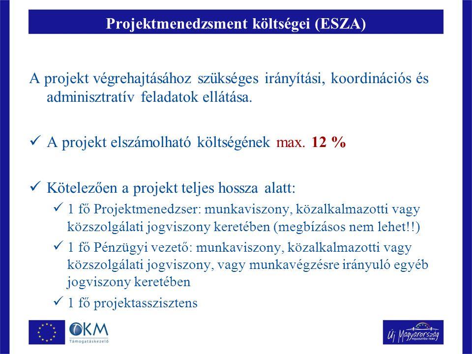 Projektmenedzsment költségei (ESZA) A projekt végrehajtásához szükséges irányítási, koordinációs és adminisztratív feladatok ellátása.