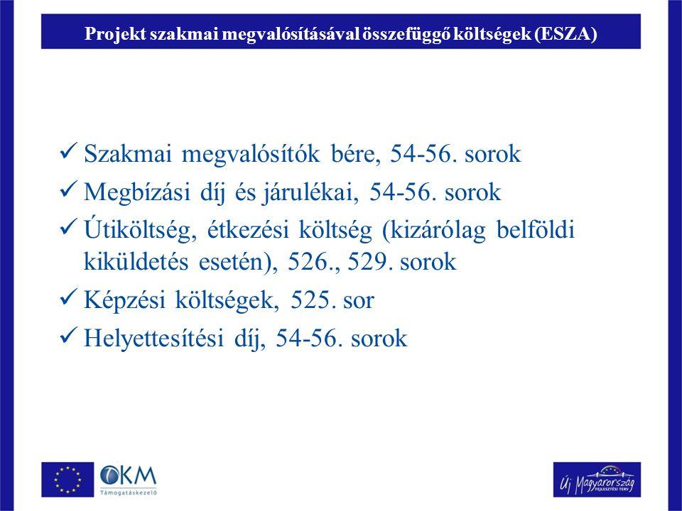 Projekt szakmai megvalósításával összefüggő költségek (ESZA) Szakmai megvalósítók bére, 54-56.