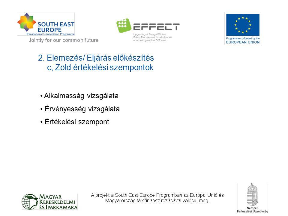 2. Elemezés/ Eljárás előkészítés c, Zöld értékelési szempontok Alkalmasság vizsgálata Érvényesség vizsgálata Értékelési szempont
