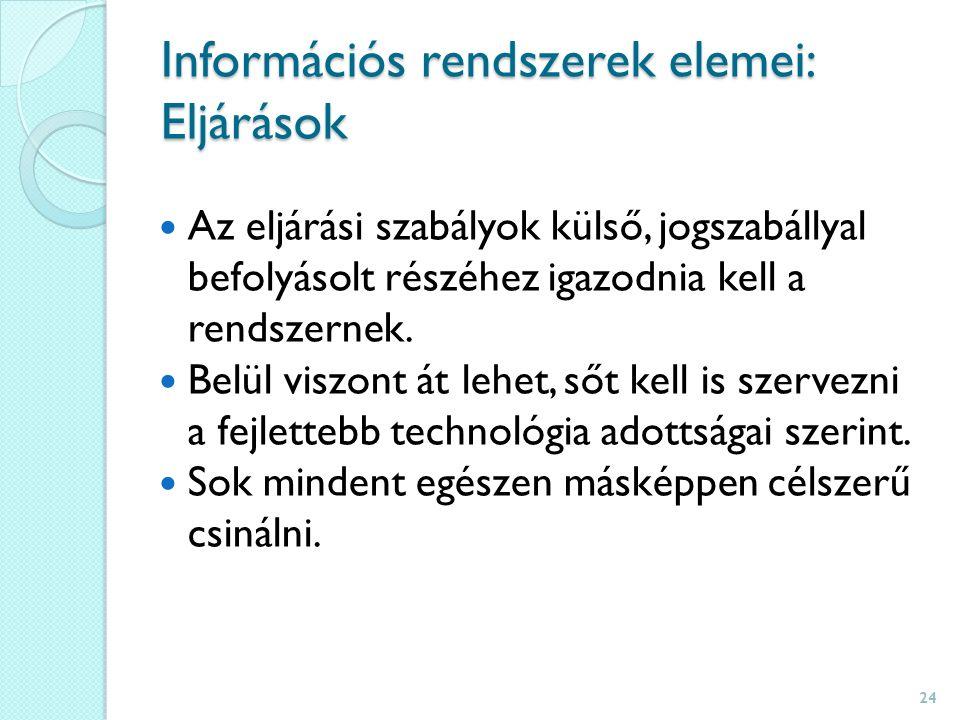 Információs rendszerek elemei: Eljárások Az eljárási szabályok külső, jogszabállyal befolyásolt részéhez igazodnia kell a rendszernek.