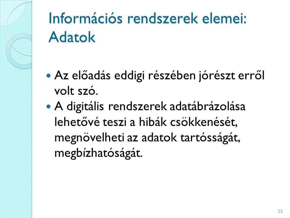Információs rendszerek elemei: Adatok Az előadás eddigi részében jórészt erről volt szó.